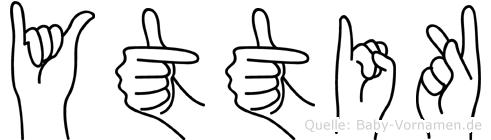 Yttik im Fingeralphabet der Deutschen Gebärdensprache