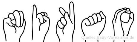 Nikao im Fingeralphabet der Deutschen Gebärdensprache