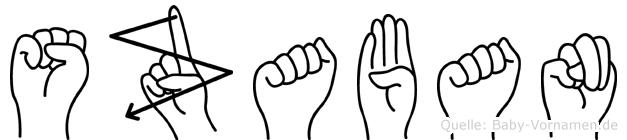 Szaban im Fingeralphabet der Deutschen Gebärdensprache