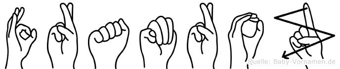 Framroz im Fingeralphabet der Deutschen Gebärdensprache