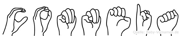 Comneia im Fingeralphabet der Deutschen Gebärdensprache