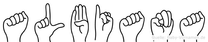 Albiana in Fingersprache für Gehörlose