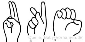 Uke im Fingeralphabet der Deutschen Gebärdensprache