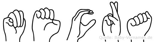 Mecra im Fingeralphabet der Deutschen Gebärdensprache