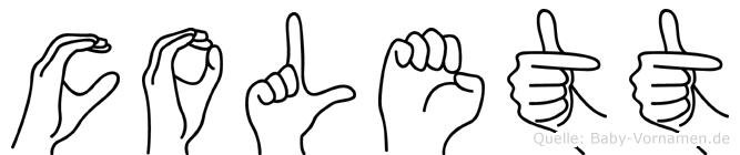 Colett im Fingeralphabet der Deutschen Gebärdensprache