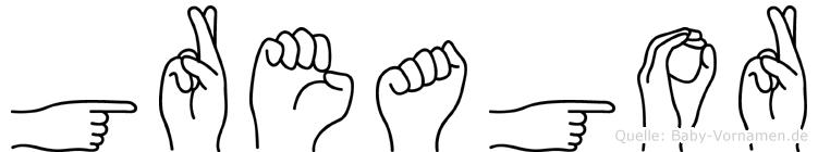 Greagor im Fingeralphabet der Deutschen Gebärdensprache