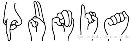 Punia in Fingersprache für Gehörlose