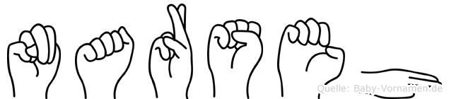 Narseh im Fingeralphabet der Deutschen Gebärdensprache