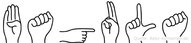 Bagula im Fingeralphabet der Deutschen Gebärdensprache