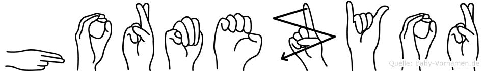 Hormezyor im Fingeralphabet der Deutschen Gebärdensprache