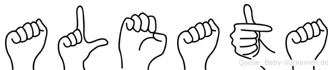 Aleata im Fingeralphabet der Deutschen Gebärdensprache