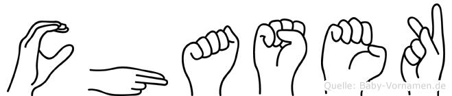 Chasek im Fingeralphabet der Deutschen Gebärdensprache