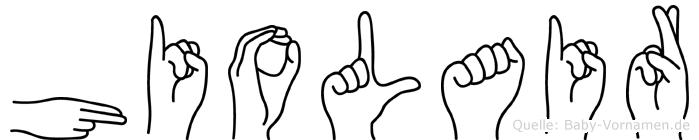 Hiolair im Fingeralphabet der Deutschen Gebärdensprache