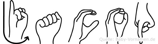 Jacop im Fingeralphabet der Deutschen Gebärdensprache