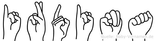 Irdina in Fingersprache für Gehörlose