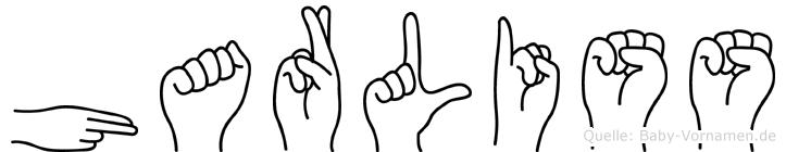Harliss im Fingeralphabet der Deutschen Gebärdensprache