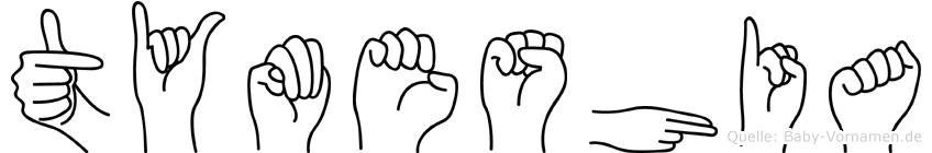Tymeshia im Fingeralphabet der Deutschen Gebärdensprache