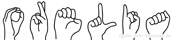 Orelia im Fingeralphabet der Deutschen Gebärdensprache