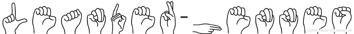 Leander-Hennes im Fingeralphabet der Deutschen Gebärdensprache