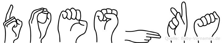 Doeshka im Fingeralphabet der Deutschen Gebärdensprache
