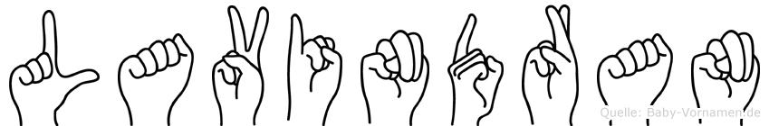 Lavindran im Fingeralphabet der Deutschen Gebärdensprache