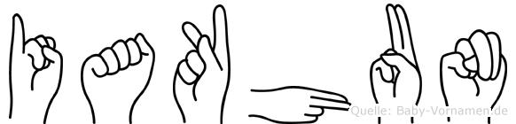 Iakhun im Fingeralphabet der Deutschen Gebärdensprache