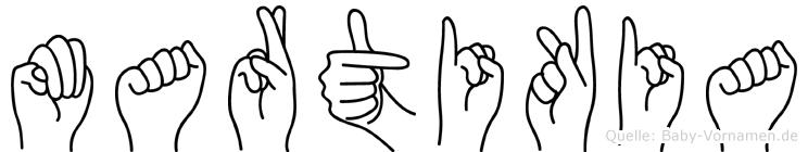 Martikia im Fingeralphabet der Deutschen Gebärdensprache