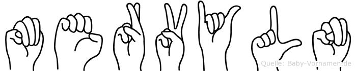 Mervyln im Fingeralphabet der Deutschen Gebärdensprache