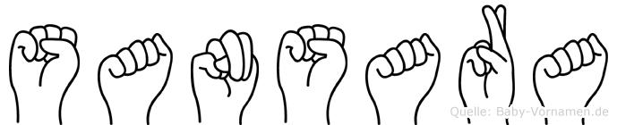 Sansara im Fingeralphabet der Deutschen Gebärdensprache