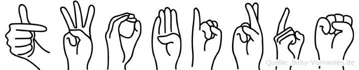 Twobirds im Fingeralphabet der Deutschen Gebärdensprache