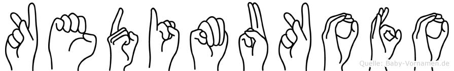 Kedimukofo im Fingeralphabet der Deutschen Gebärdensprache