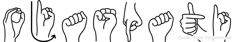 Ojaspati im Fingeralphabet der Deutschen Gebärdensprache