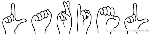 Lariel im Fingeralphabet der Deutschen Gebärdensprache