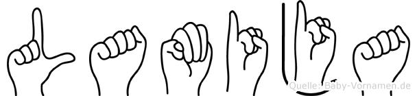 Lamija in Fingersprache für Gehörlose