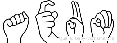Axum im Fingeralphabet der Deutschen Gebärdensprache