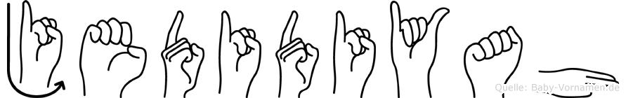 Jedidiyah im Fingeralphabet der Deutschen Gebärdensprache