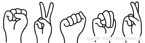Svanr im Fingeralphabet der Deutschen Gebärdensprache