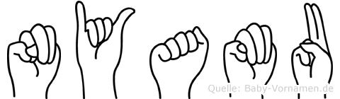 Nyamu im Fingeralphabet der Deutschen Gebärdensprache