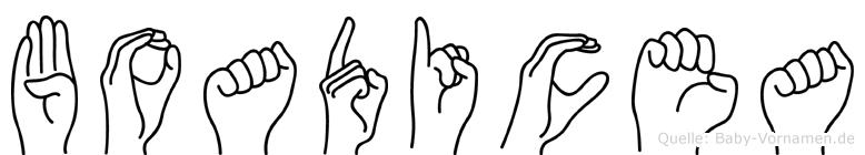Boadicea im Fingeralphabet der Deutschen Gebärdensprache