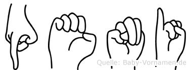 Peni im Fingeralphabet der Deutschen Gebärdensprache