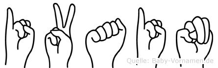 Ivain im Fingeralphabet der Deutschen Gebärdensprache