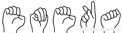 Emeka im Fingeralphabet der Deutschen Gebärdensprache