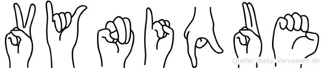 Vynique im Fingeralphabet der Deutschen Gebärdensprache