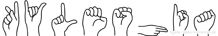 Kyleshia im Fingeralphabet der Deutschen Gebärdensprache