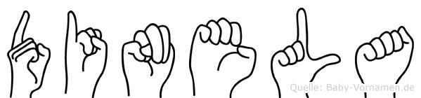 Dinela im Fingeralphabet der Deutschen Gebärdensprache