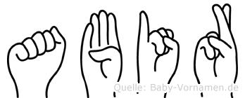 Abir in Fingersprache für Gehörlose