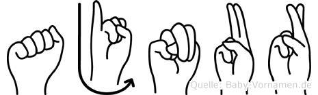 Ajnur im Fingeralphabet der Deutschen Gebärdensprache