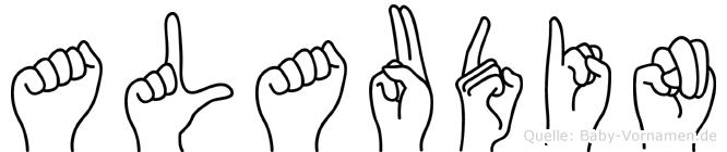 Alaudin im Fingeralphabet der Deutschen Gebärdensprache