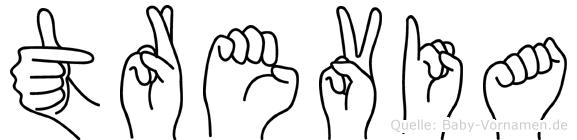 Trevia im Fingeralphabet der Deutschen Gebärdensprache