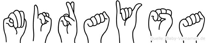 Miraysa im Fingeralphabet der Deutschen Gebärdensprache